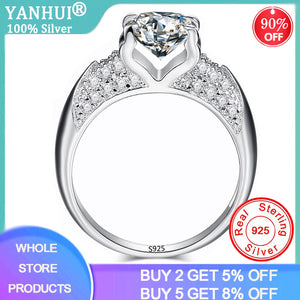 YANHUI Luxury 1Ct Cubic Zirconia Wedding Ring Fine Silver 925 Jewelry Rings Mosaic Crystal Engagement Ring For Women Anneaux