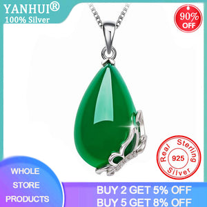 YANHUI New Vintage Pure 925 Sterling Silver Emerald Gemstone Pendant Necklace Party Cocktail Jewelry Women Gifts Wholesale ZN318