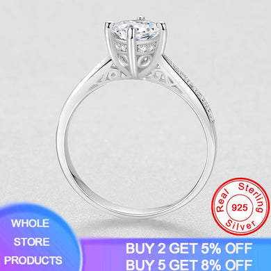 Luxury Brand Original 925 Silver Hollow Pattern Ring Wedding Jewelry For Women 2020 New Fashion Four-claw Cubic Zirconia Ring