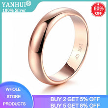 Load image into Gallery viewer, YANHUI Classic Simple 18K Gold Color Couple Rings Women Men Wedding Rings for Lover's Christmas Gift Jewelry Engagement Ring R05