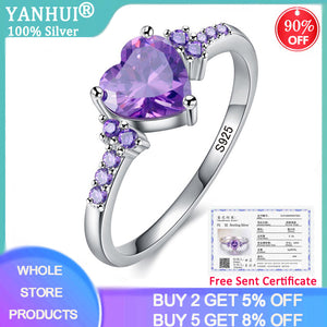 YANHUI With Certificate Purple Zircon Crystal Ring For Women Lovely Heart Shape 925 Silver Jewelry Romantic Valentine's Day Gift