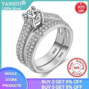 YANHUI With Certificate Luxury Original 925 Silver Wedding Ring Set Have S925 Logo Dazzle Zirconia Diamond Band Rings For Women