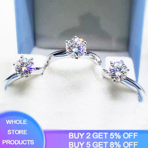 Free Sent Certificate Luxury Solitaire 1 Carat Lab Diamond Wedding Ring Original Pure 18K White Gold Rings Silver 925 Jewelry