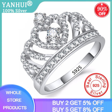With Certificate 925 Solid Silver Rings Crystal Heart Rings Women's Crown Zircon Ring Jewelry Women's Engagement Party Wholesale
