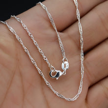 Load image into Gallery viewer, Top Quality Genuine 925 Solid Silver Water-wave Chain Necklace With Lobster Clasps Silver 925 Chokers Necklaces Wedding Jewelry