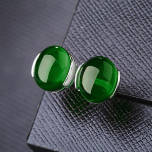YANHUI 100% 925 Sterling Silver Emerald Gemstones Stud Earrings For Women Silver 925 Jewelry Wholesale DEC39