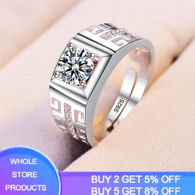 YANHUI Luxury 100% 925 Sterling Silver Rings For Men Women Size 18mm Adjustable 8mm Cubic Zircon Opening Rings Personality R201