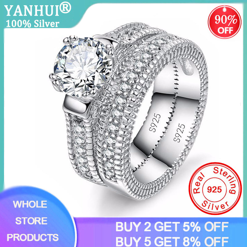 YANHUI New Arrival 100% Real 925 Sterling Silver Finger Ring Set For Female Super Luxury Gifts For Women Birthday Party Jewelry