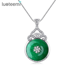 LUOTEEMI Luxury Green Stone CZ Pendant Necklaces for Women Wedding Engagement Fashion Jewelry Party Collier Femme Christmas Gift