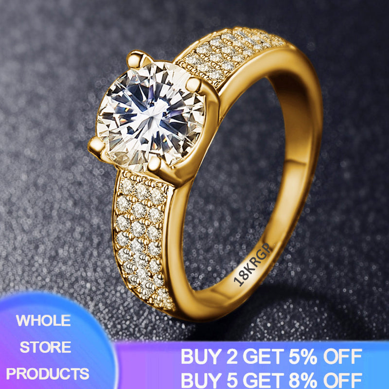 YANHUI 925 Solid Silver Circle Zirconia Diamond Rings For Women 18K Gold Color Cubic Zirconia Wedding Fine Jewelry Ring For Girl