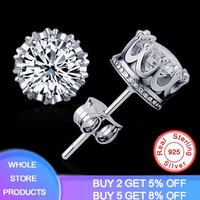 Have Certificate Original 925 Solid Silver 8MM Round 2 Carat Cubic Zirconia Stud Earrings For Men Women Handmade Fine Jewelry