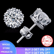 Load image into Gallery viewer, Have Certificate Original 925 Solid Silver 8MM Round 2 Carat Cubic Zirconia Stud Earrings For Men Women Handmade Fine Jewelry