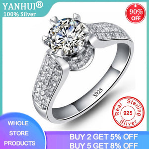 YANHUI Classic Luxury Real Solid 925 Sterling Silver Ring 1Ct 10 Hearts Arrows Zirconia Diamond Wedding Jewelry Rings For Women