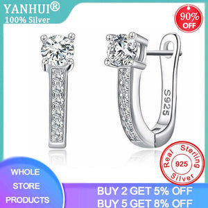 YANHUI Fashion High-Grade 5A Cubic Zircon Crystal Earring Silver 925 Jewelry Drop Earrings For Women Girl Gift Earrings