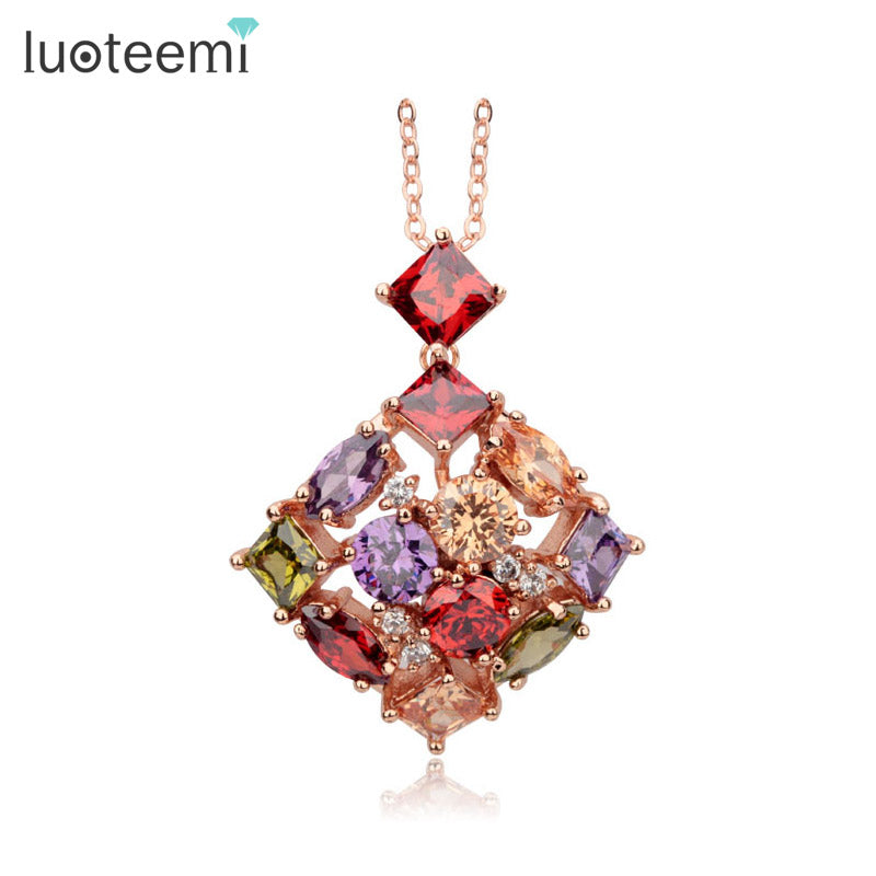 LUOTEEMI New Fashion Women Square Colorful Zircon Pendant Necklace Rose Gold-Color for Women Anniversary Jewelry Wholesale
