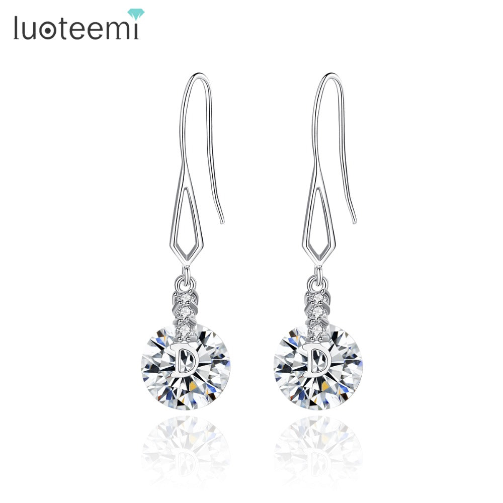 LUOTEEMI New Design Round Drop Earrings for Women Dating Wedding Luxury CZ Exquisite Four Colors Boucle D'Oreille Christmas Gift
