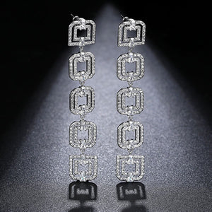 LUOTEEMI Elegant Wind Five Double Squares Connection Long Drop Earrings Clear Cubic Zircon Fashion Atmosphere Style Lady Jewelry (Clear)
