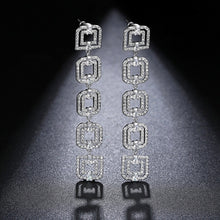 Load image into Gallery viewer, LUOTEEMI Elegant Wind Five Double Squares Connection Long Drop Earrings Clear Cubic Zircon Fashion Atmosphere Style Lady Jewelry