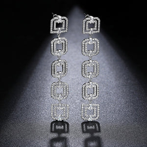 LUOTEEMI Elegant Wind Five Double Squares Connection Long Drop Earrings Clear Cubic Zircon Fashion Atmosphere Style Lady Jewelry