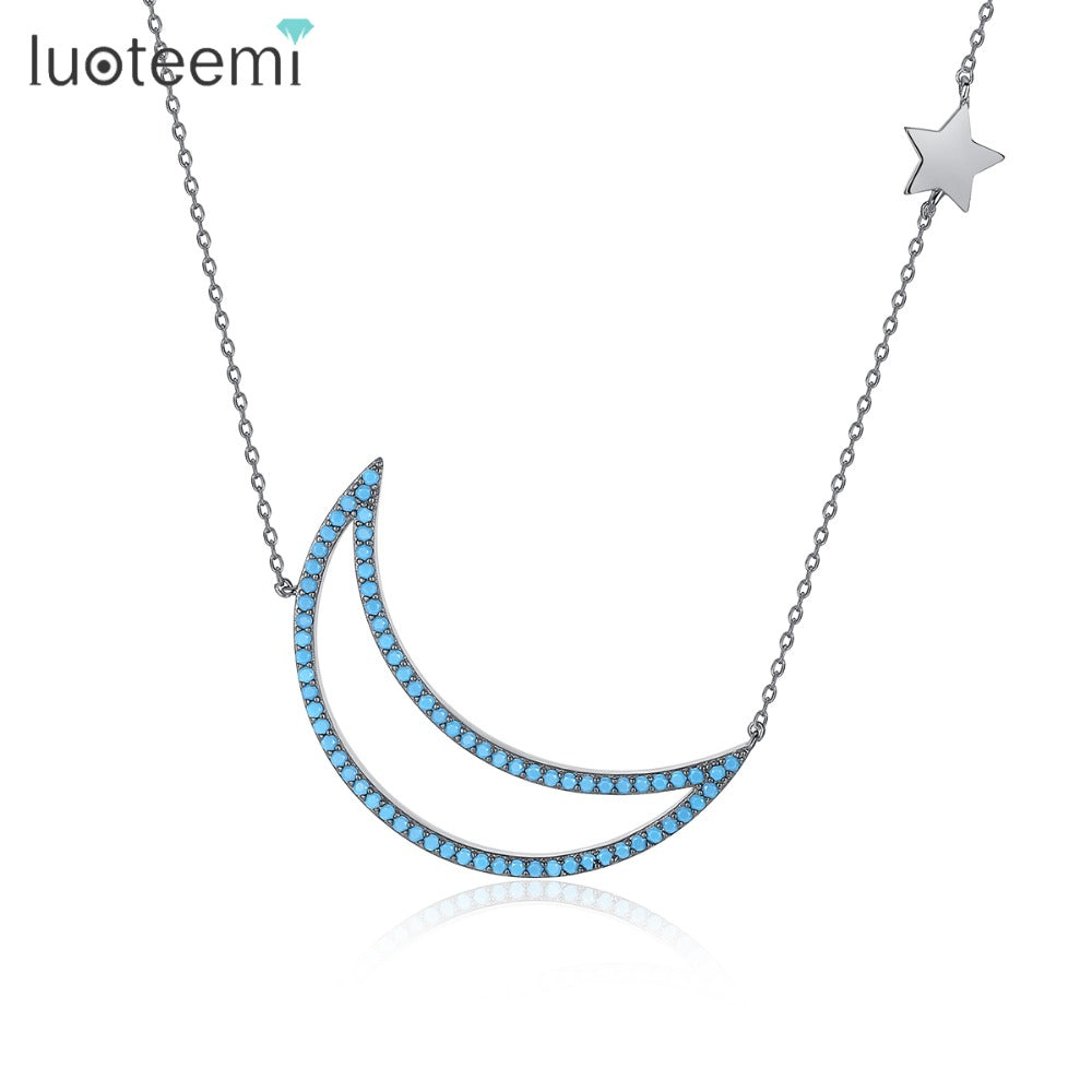 LUOTEEMI Elegant Necklace Gun Black with Blue Stones Moon Pendant Single Star in Chain Best Gift for Girl Friend Birthday Party