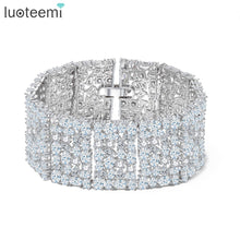 Load image into Gallery viewer, LUOTEEMI New Big Luxurious Jewelry Full Shining Cubic Zircon White Gold-Color Link Chain Bracelet for Women Wedding Bangle