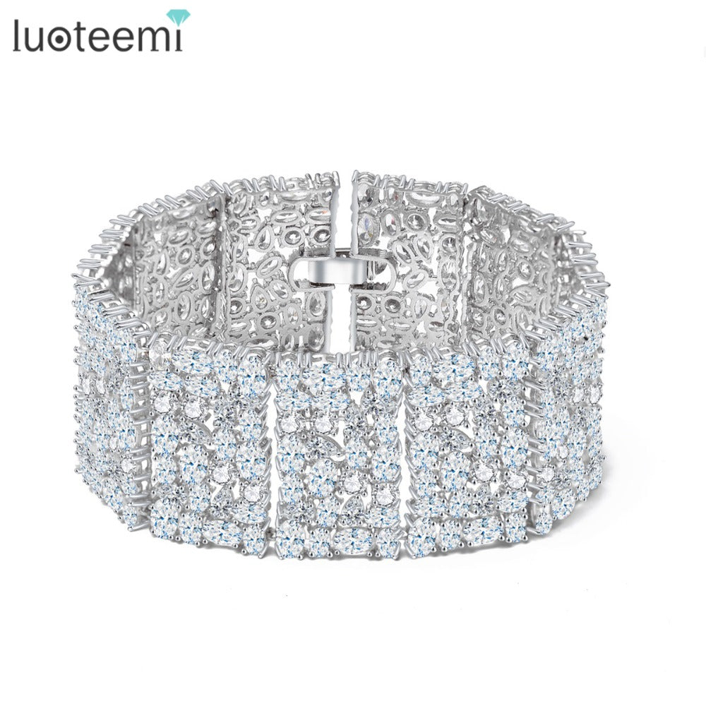 LUOTEEMI New Big Luxurious Jewelry Full Shining Cubic Zircon White Gold-Color Link Chain Bracelet for Women Wedding Bangle