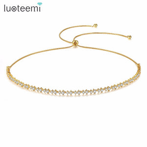 LUOTEEMI Adjustable Necklace for Women Wedding Party Shiny Round CZ Two Colors Female Jewelry Collares De Moda Christmas Gift
