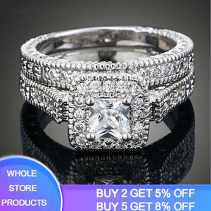 YANHUI Women Cubic CZ Rings Set Luxury 925 Solid Silver Jewelry Wedding Ring Band Promise Engagement Rings For Women ZR293