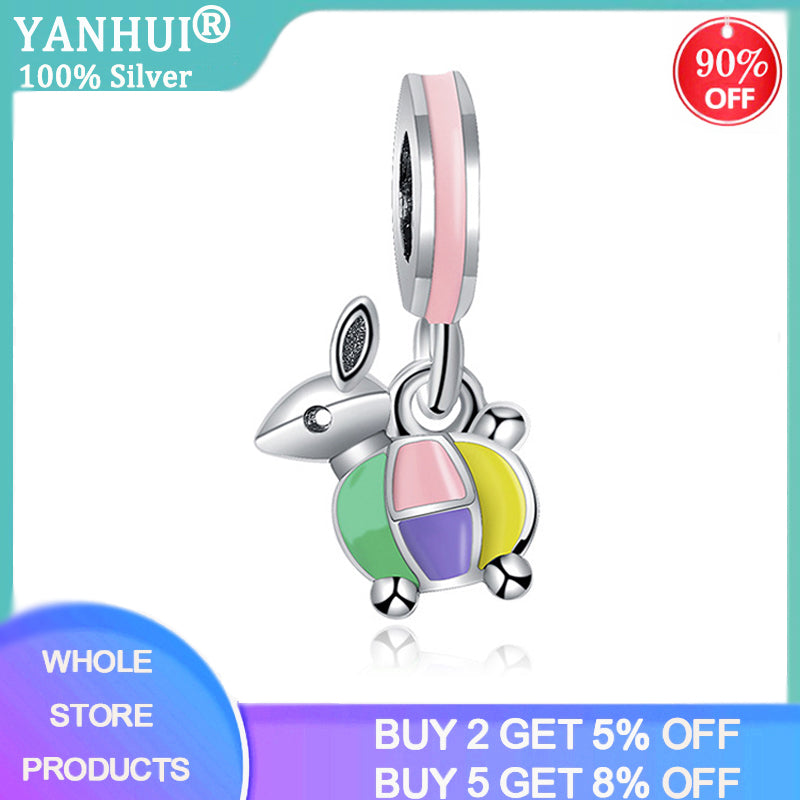 YANHUI Fashion 925 Sterling Silver Lovely Animal Rabbit Charms fit DIY Bracelet Pendants Jewelry Making Jewelry Findings K13-06