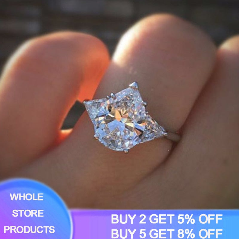 YANHUI Big Hyperbolic Rings For Women Pear Cut 5ct 10*15mm Zirconia Female Engagement Ring Wedding Fashion Jewelry Party JZ082