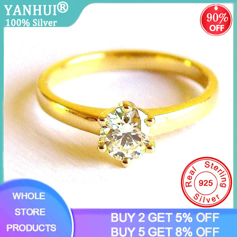 Yellow Gold Wedding Rings 5.5mm Lab Diamond Stone Classic Luxury Six Claw 925 Silver Rings for Women Engagement Wedding Jewelry