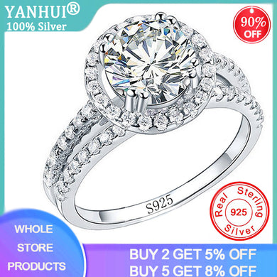 YANHUI Elegant Female Bride Round Band Wedding Ring Luxury 925 Sterling Silver CZ Zircon Ring Promise Engagement Rings For Women