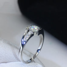 Load image into Gallery viewer, YANHUI With Certificate Women 100% Original 925 Solid Silver Ring Staggered Connection 5mm 0.75ct CZ Zirconia Wedding Rings R036