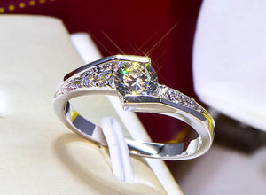 YANHUI With Certificate Women 100% Original 925 Solid Silver Ring Staggered Connection 5mm 0.75ct CZ Zirconia Wedding Rings R036