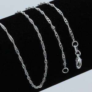 Top Quality Genuine 925 Solid Silver Water-wave Chain Necklace With Lobster Clasps Silver 925 Chokers Necklaces Wedding Jewelry