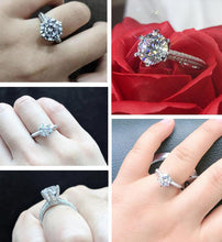 Load image into Gallery viewer, YANHUI With Certificate Silver 925 Jewelry Imitated Moissanite Ring Luxury 2.0ct Zircon 925 Silver Wedding Band Rings for Women