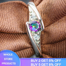Load image into Gallery viewer, YANHUI New Trendy Original 925 Silver Rings With Rainbow Colors Stone Crystal Wedding & Party Rings For Women Jewelry Gift R035