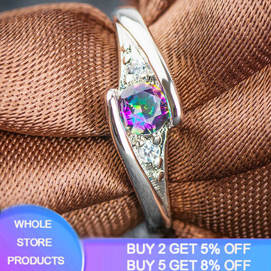 YANHUI New Trendy Original 925 Silver Rings With Rainbow Colors Stone Crystal Wedding & Party Rings For Women Jewelry Gift R035