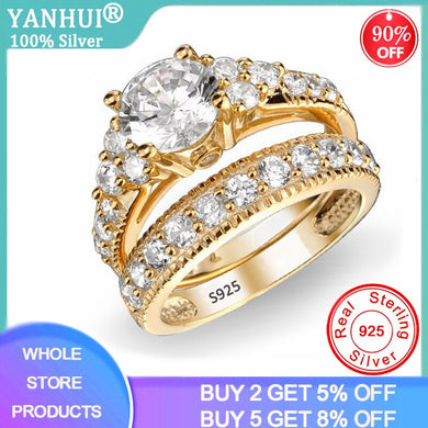 YANHUI Have Certificate 100% Original 925 Solid Silver Golden Rings Set Fine Jewelry Cubic Zirconia Wedding Rings Set for Women