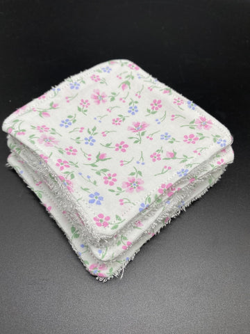 "Lot de 7 Lingettes ""Seconde Vie"" fleuries"