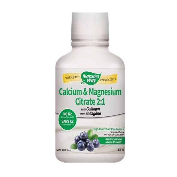Nature's Way Calcium & Magnesium Citrate 2:1 with Collagen - Blueberry