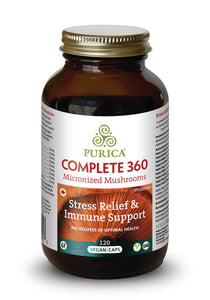 Purica Complete 360 Micronized Mushrooms - Stress Relief & Immune Support 120 Vegan Caps