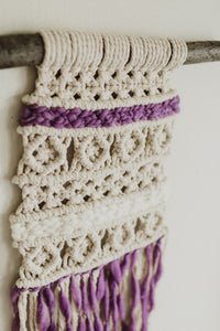 Adelaide Macrame | African Violet | Medium Wall Hanging | 2 Colors