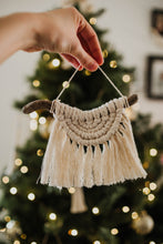 Load image into Gallery viewer, Mini Half Moon Macrame Ornament | Boho Holiday Wall Art | Neutral Fiber Holiday Decor | Rising Sun Macrame Wall Art