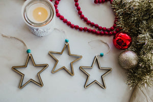 Wooden Star Ornaments Set of 3 | Hanging Star Christmas Decorations with Beads | Tree Decor | Holiday Ornaments | Neutral Boho Star Ornament