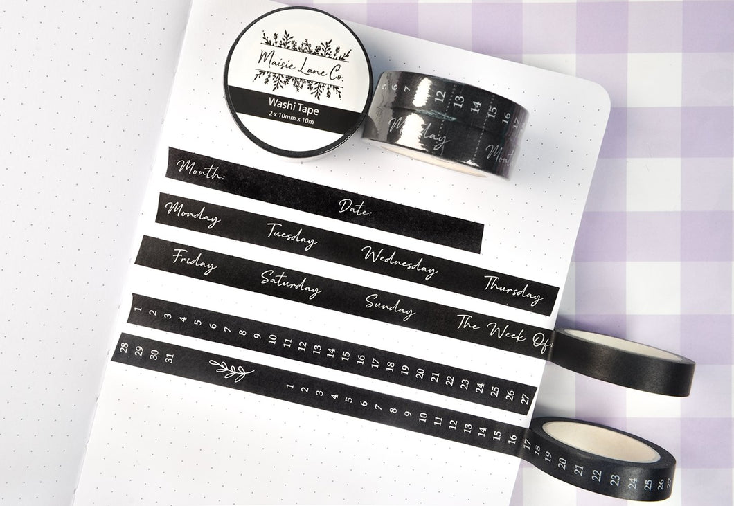 Black Calendar Washi Set - Maisie Lane Co.