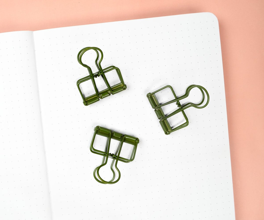 Forest Green Binder Clips - Maisie Lane Co.