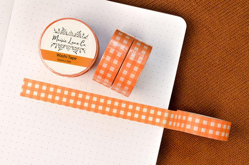 Orange Gingham Washi Tape - Maisie Lane Co.