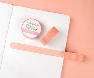 Salmon Pink Grid Washi - Maisie Lane Co.