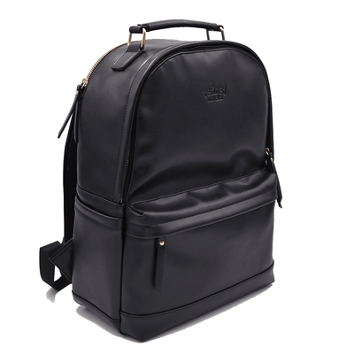 Full view of black vegan leather backpack by Refined Traveler